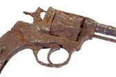 A fragment of an old gun — Stock Photo