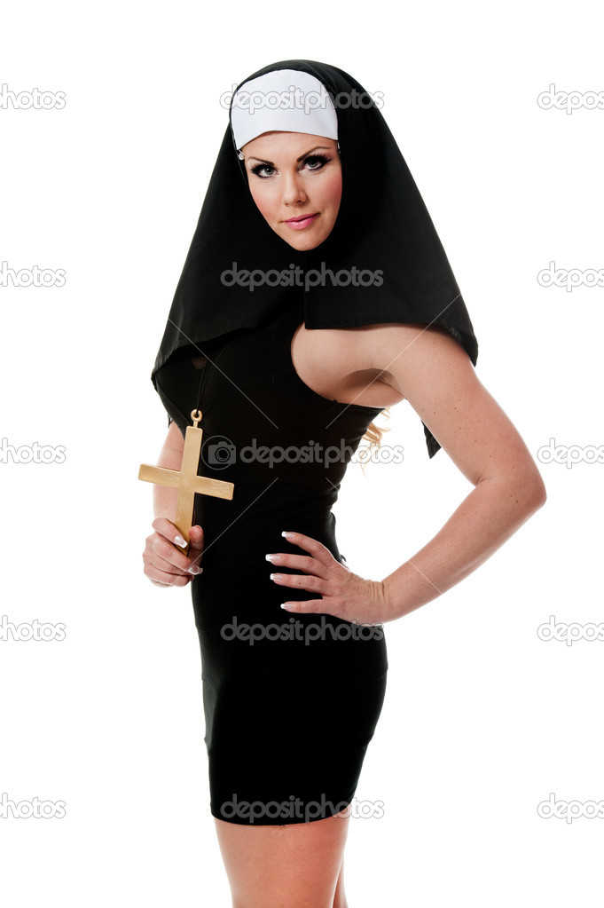 A hot caucasian girl wearing a nun outfit  Stock Photo #6826340