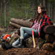Lumberjack girl - Stock Photo