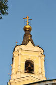 Belfry of the orthodox church in sun light — Stock Photo