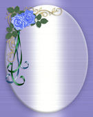 Blue roses wedding invitation — Stock Photo