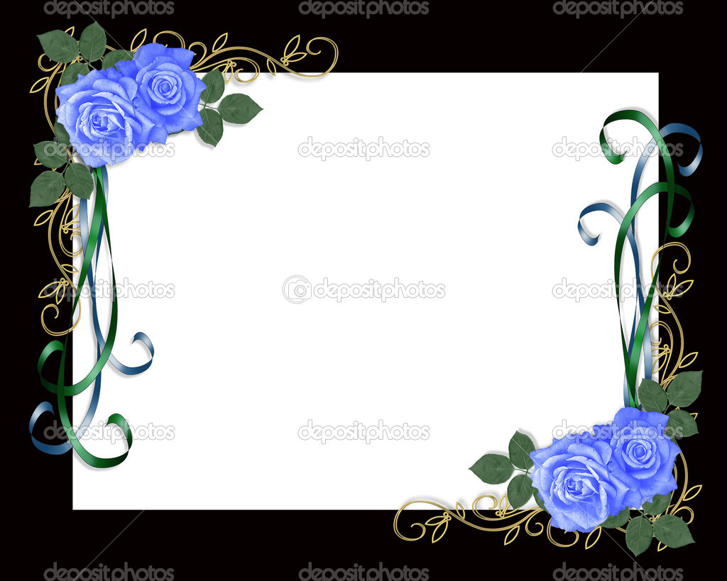 3D Illustrated Blue roses design element on black frame background for wedding invitation with copy space. — Stock Photo #7268733