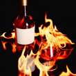 Wine brandy in fire — Stock Photo