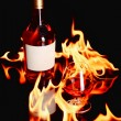 Wine brandy in fire — ストック写真