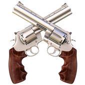 Dois revólveres cruzados. isolado no branco. — Fotografia Stock