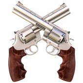 two crossed revolvers. isolated on white. — Stock fotografie