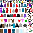 Big collection of clothes and accessories — Image vectorielle