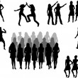 Stock Vector: Large group of women - silhouette vector