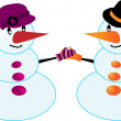 Pair of snowmen — Stock Vector