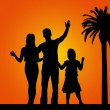 Stock Vector: Family under the palm