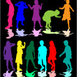 Colorful silhouettes of children — Stock Vector