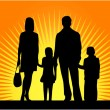 Silhouettes Of Parents With Children — Stock Vector