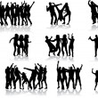 Dancing silhouettes - large collection — Stockvektor
