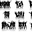 Dancing silhouettes - large collection — Stock Vector