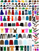 Big collection of clothes and accessories — Stock Vector