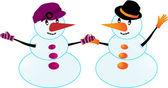 Paire de bonhommes de neige — Vecteur
