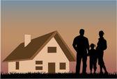Famille heureuse avec une maison en arrière-plan — Vecteur