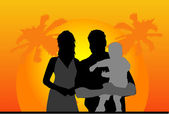 Family under the palm — Stock Vector