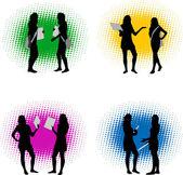 Vector silhouette girls — Stock Vector