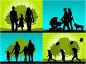 Família - quatro imagens — Vetor de Stock