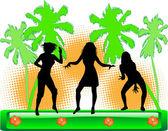 Impreza na plaży - ilustracja kolor — Wektor stockowy