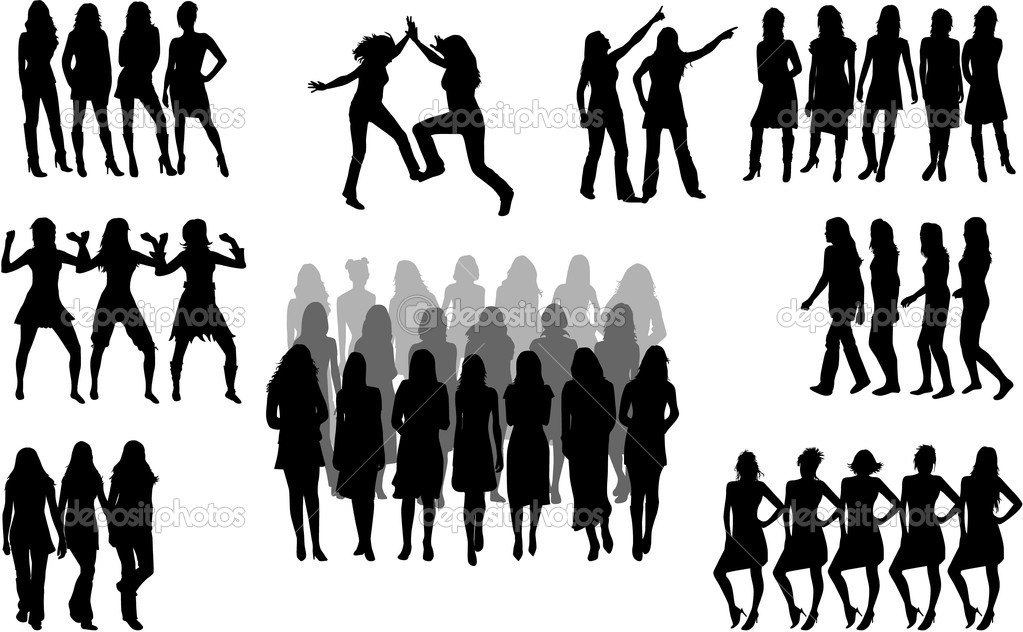 Large group of women - silhouette vector  — Stock Vector #6936648