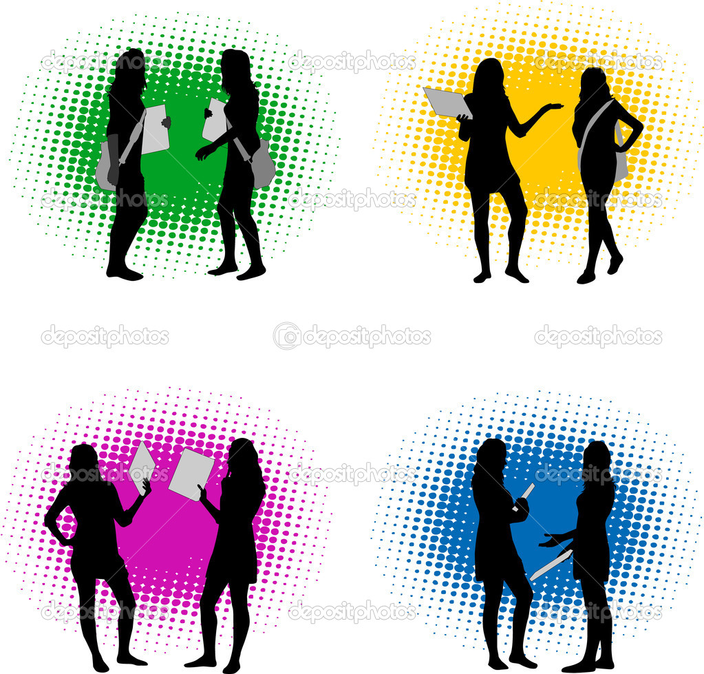 Vector silhouette girls  — Stock Vector #6936687