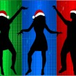 Christmas Time - dancing silhouettes — Stock Vector