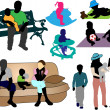 Family -  collection of colorful silhouettes — Stock Vector