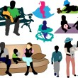 Family - collection of colorful silhouettes — Vector de stock