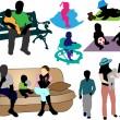Семья - коллекция красочных силуэтов — Cтоковый вектор