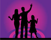 Picture of the family - purple background — Stock Vector