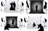 Studio fotografii - sesje zdjęciowe — Wektor stockowy