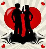 Escena romántica de amor — Vector de stock