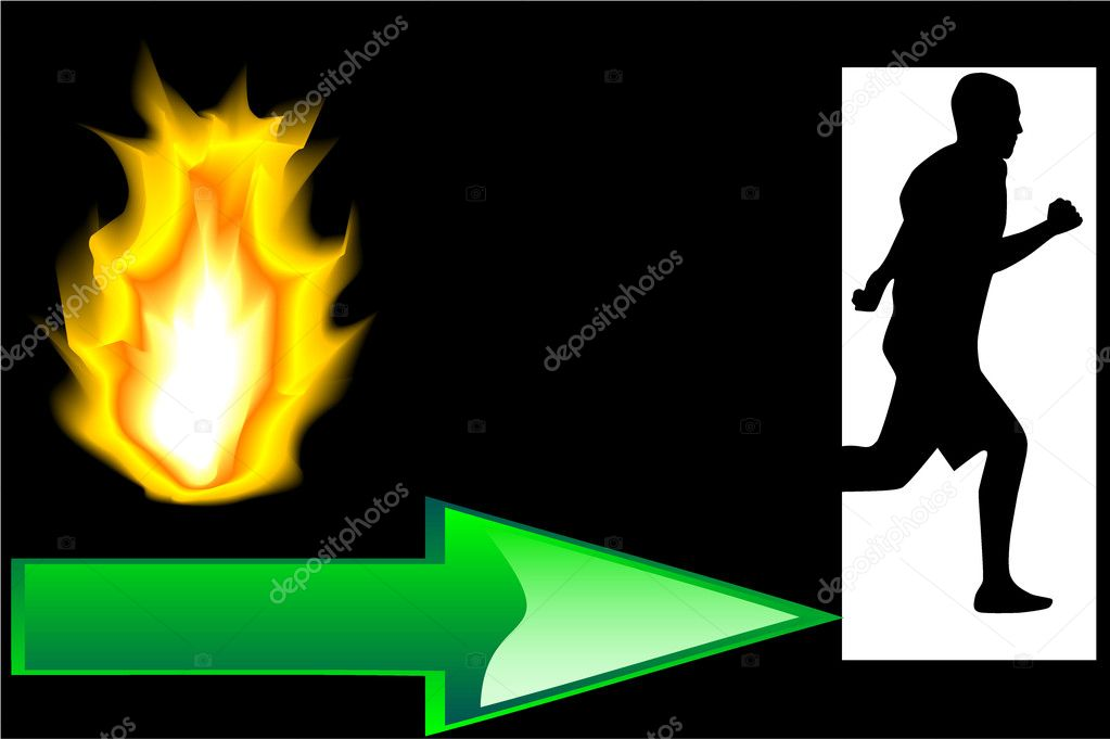 Output Fire - Evacuation — Stock Vector #7714759