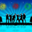 Christmas party - black background — Stock Vector