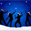 Christmas party - black background — Imagen vectorial