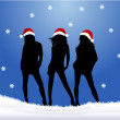 Stock Vector: Christmas Girls - blue background