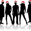 Christmas party - black background — Image vectorielle