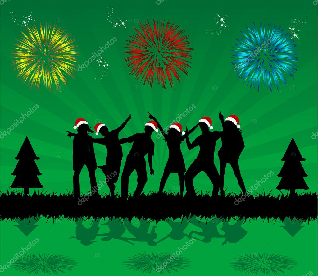 Christmas party - black background — Stockvectorbeeld #7777052