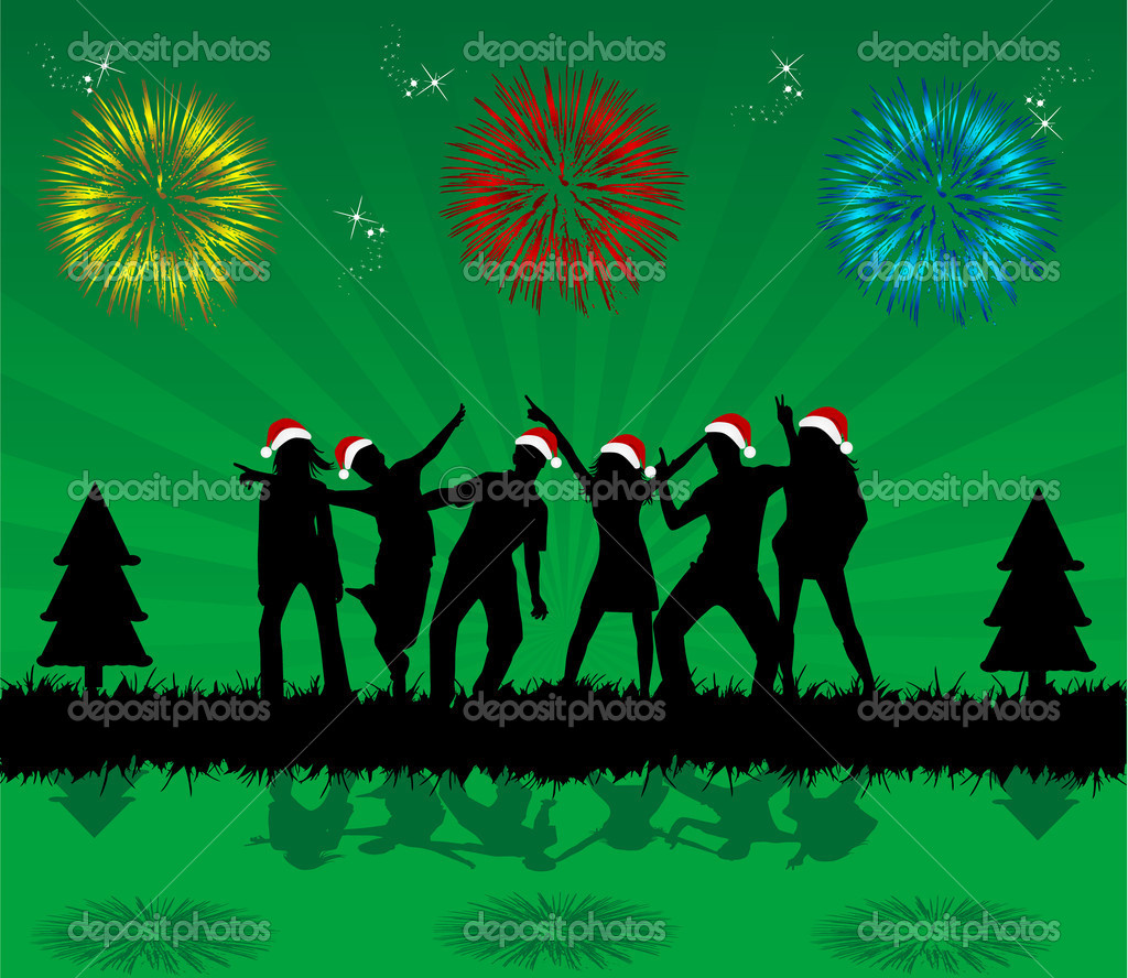 Christmas party - black background — Imagen vectorial #7777052