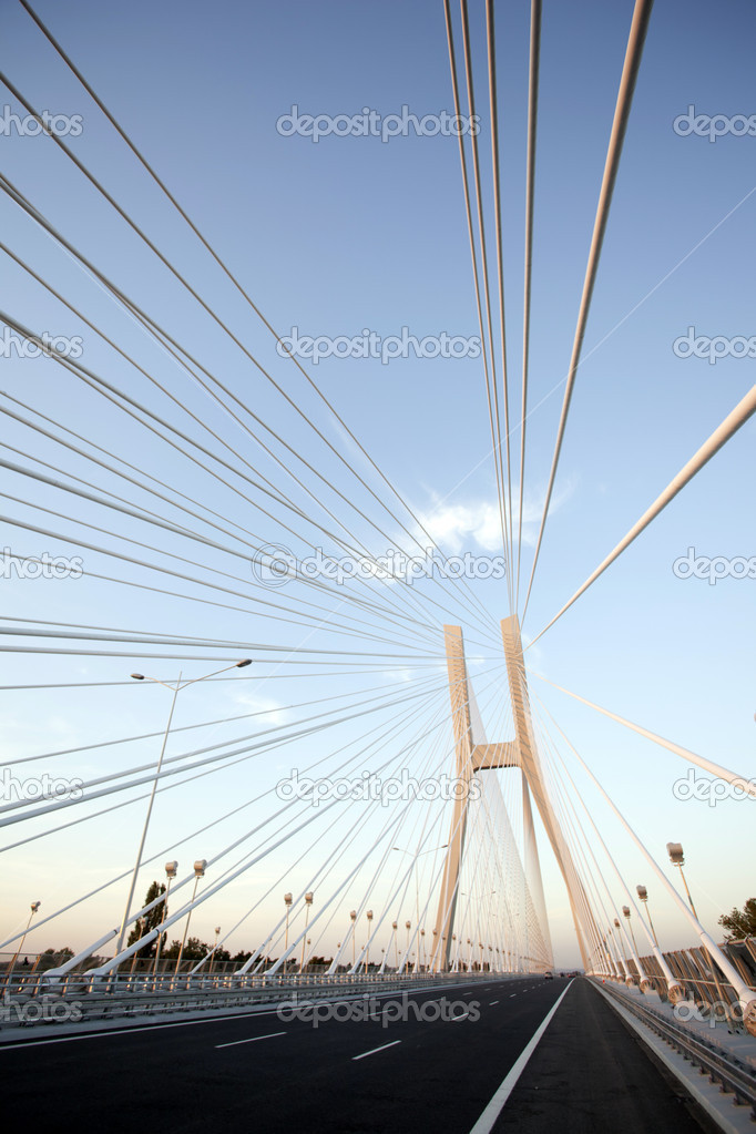 Bridge in wroclaw, poland on blue sky — Stock Photo #6913340