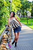 Young girl in summer park — Stock Photo