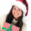 Closeup young woman with Christmas Present — Stok fotoğraf