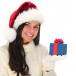 Young Woman with Christmas Present — Stock Photo