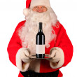 Santa Claus with Wine Bottle On Tray — Stock Photo