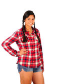 Teenage Girl in Plaid Shirt and Jean Shorts — Stock Photo