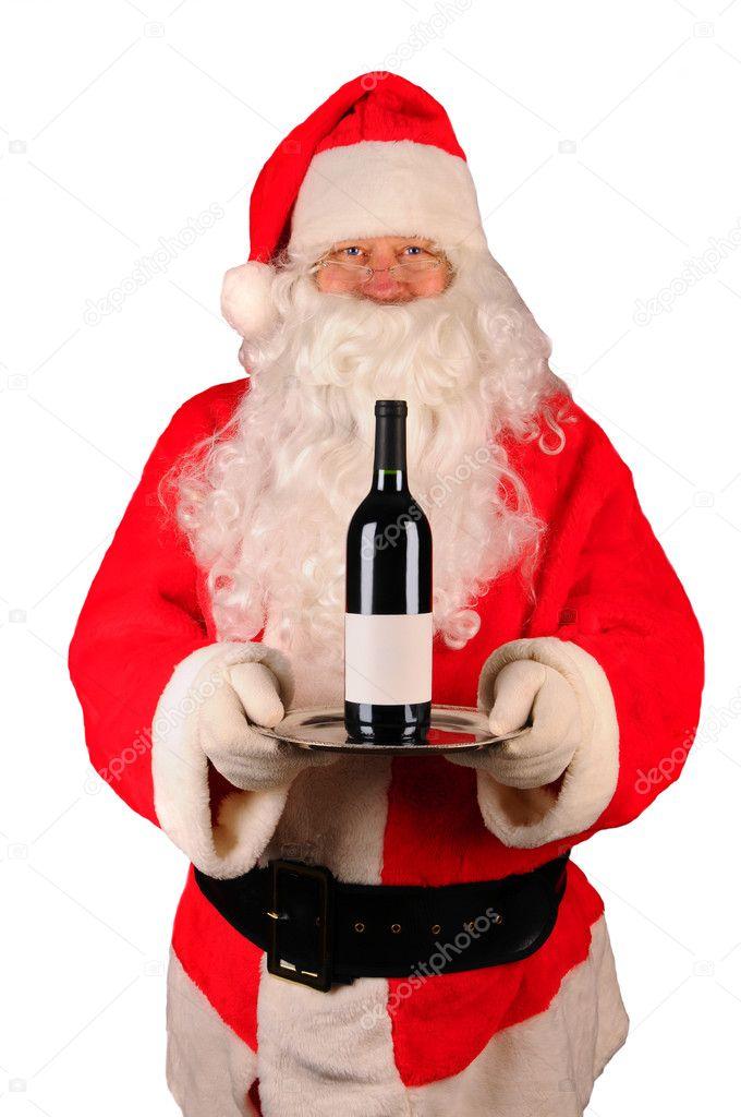 Père Noël avec bouteille de vin sur plateau — Photographie scukrov ...