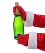 Santa with Champagne Bottle — Stock Photo