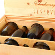 图库照片: Case of Chardonnay Wine Bottles